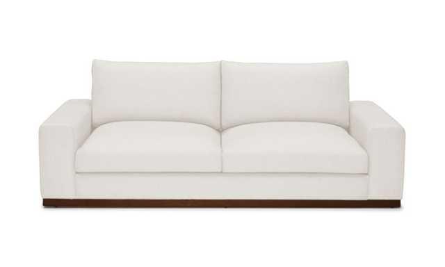 White Holt Mid Century Modern Sofa - Merit Snow - Mocha - Joybird