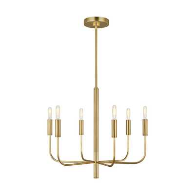 Generation Lighting Designer Collections ED Ellen DeGeneres Crafted by Generation Lighting Brianna 24 in. W 6-Light Burnished Brass Chandelier with Swivel Canopy - Home Depot