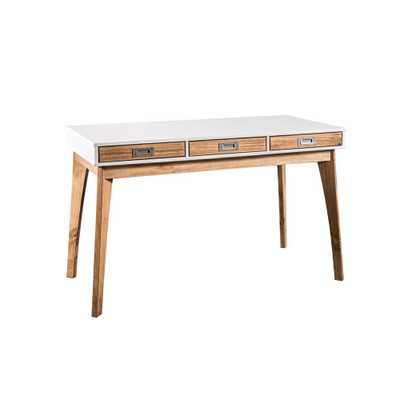 Jackie White and Natural Wood Home Office Desk with 3-Drawers - Home Depot