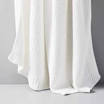 "Cotton Knit Throw, Stone White, 50""x60"" - West Elm"