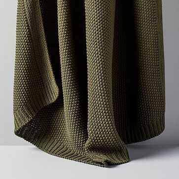 "Cotton Knit Throw, Olive, 50""x60"" - West Elm"