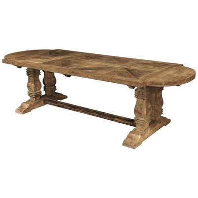 Esa French Country Reclaimed Pine Parquet Oval Dining Table - Kathy Kuo Home