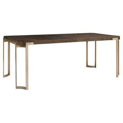 Patrick Mid Century Antique Brass Oak Wood Dining Table - Kathy Kuo Home