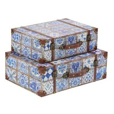 Causby Traditional Rectangular Suitcase 2 Piece Decorative Box Set with Lid - Wayfair