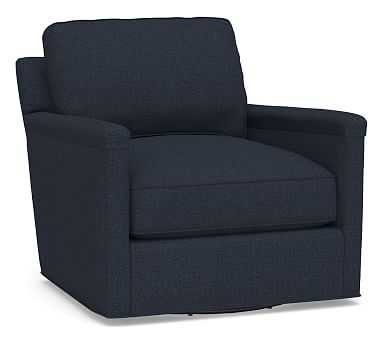 Tyler Square Arm Upholstered Swivel Armchair without Nailheads, Polyester Wrapped Cushions, Performance Brushed Basketweave Indigo - Pottery Barn