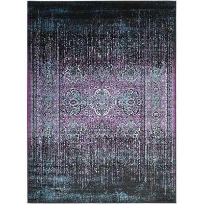 Ana Overdyed Traditional Wool Purple/Black Area Rug - Wayfair