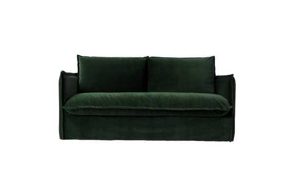 """Neva 72"""" Sofa- Washed Cotton Velvet Emerald City - Sixpenny"""