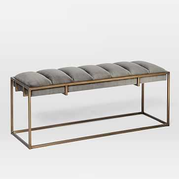 Fontanne Ottoman Bench - Fabric, Gray Washed Velvet - West Elm