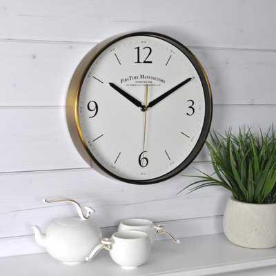 Gold Metal Wall Clock, Brushed Gold - Home Depot