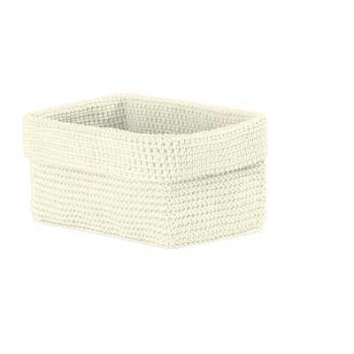 Mod Crochet Rectangular Polypropylene Basket, Beige/Ivory - Home Depot