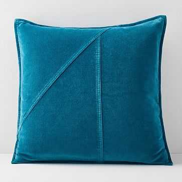 "Washed Cotton Velvet Pillow Cover, Blue Teal, 18""x18"" - West Elm"