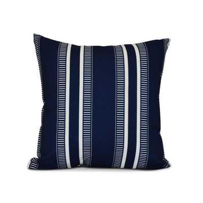 E by Design 16 in. Blue Dashing Stripe Print Pillow, Blues - Home Depot