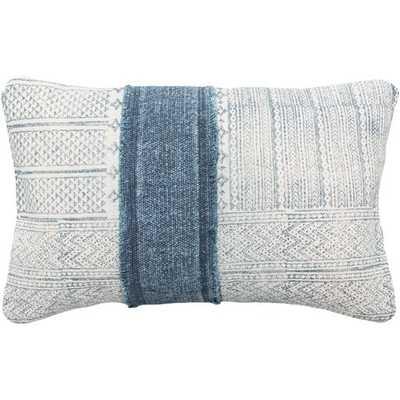 """Mara Lumbar Pillow Cover, 14""""x 22"""", Navy - Cove Goods"""