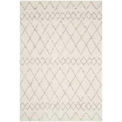 Berber Shag Cream/Light Gray (Ivory/Light Gray) 8 ft. x 10 ft. Area Rug - Home Depot