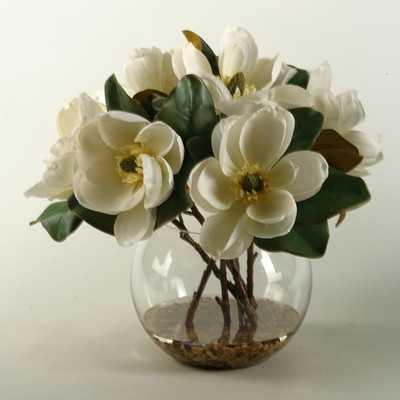 Magnolias Centerpiece in Glass Bubble Bowl - Birch Lane