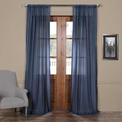 Exclusive Fabrics & Furnishings Blue Lapis Faux Linen Sheer Curtain - 50 in. W x 84 in. L - Home Depot