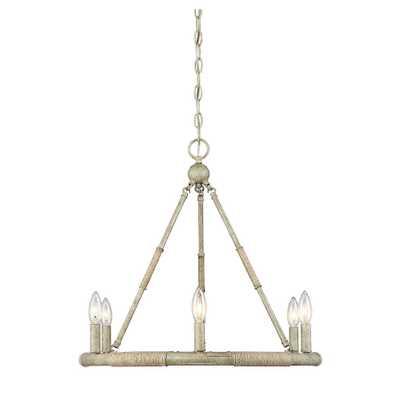 Filament Design 6-Light Natural Wood and Rope Chandelier - Home Depot