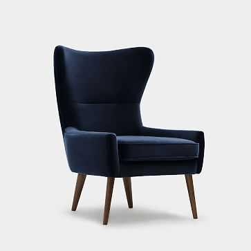 Erik Wing Chair, Velvet, Navy Dark Oak - West Elm