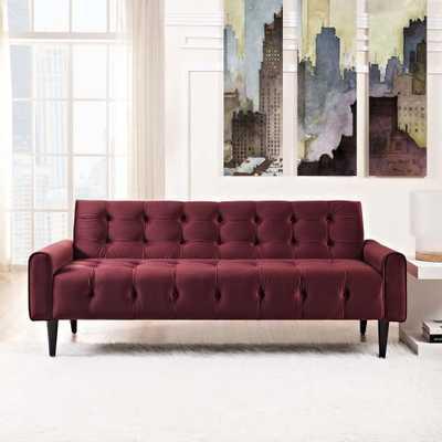 Delve Maroon (Red) Velvet Sofa - Home Depot