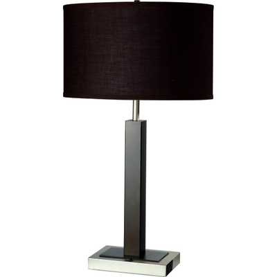 ORE International 26 in. Modern Silver Metal Table Lamp with Convenient Outlet - Home Depot