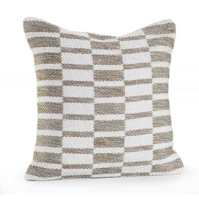 Alternate Blocks Beige / White (Beige/White) 18 in. x 18 in. Throw Pillow - Home Depot