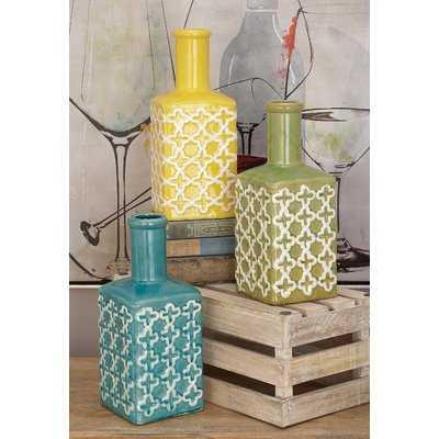 Shamritsky Ceramic Stripe Table Vase Set - Wayfair