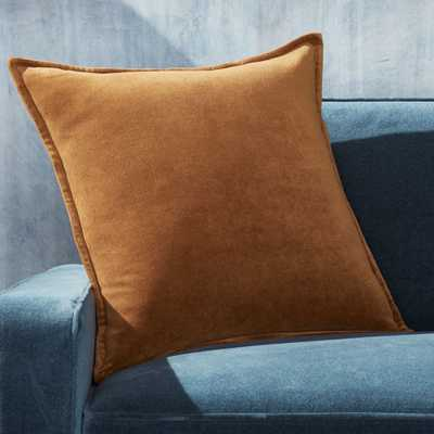 "Brenner Velvet Cognac Pillow with Down-Alternative Insert 20"" - Crate and Barrel"