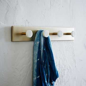 Deco Marble Hook, Marble + Antique Brass - West Elm
