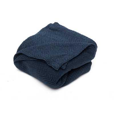 Josie Cotton Full/Queen Throw Blanket In Navy (Blue) - Home Depot