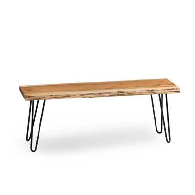 Hairpin Natural Live Edge Wood with Metal 48 in. Bench - Home Depot