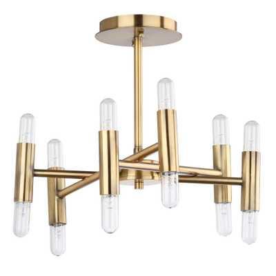 Safavieh Fidelma 16 in. 12-Light Gold Flush Mount - Home Depot