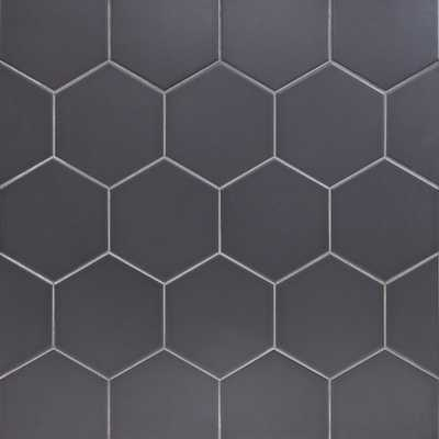 Ivy Hill Tile Bethlehem Hexagon Dark Gray 5.9 in. x 6.96 in. x 8mm Matte Ceramic Wall Tile (38 pieces / 7.96 sq. ft. / box) - Home Depot