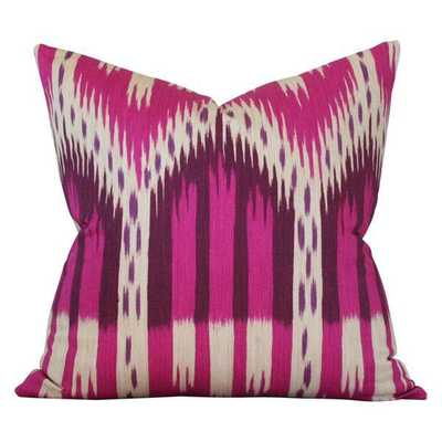 Bukhara Ikat Fuchsia - 20x20 pillow cover / pattern on front, solid on back - Arianna Belle
