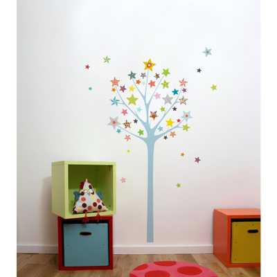 """Adzif (43.6 in x 64.7 in) Multi-Color """"Star Tree"""" Kids Wall Decal - Home Depot"""
