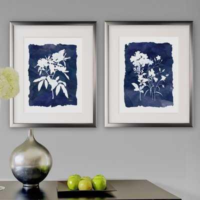 Indigo Botanical - 2 Piece Picture Frame Set Print Set on Paper - Birch Lane