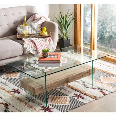 Safavieh Kayley Natural/Glass Coffee Table - Home Depot