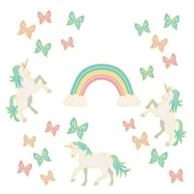 WallPOPs Enchanting Unicorns Glow in the Dark Wall Art Kit Wall Decals, Multi-Color - Home Depot