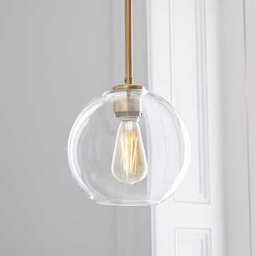 Sculptural Glass Globe Pendant, Small Globe, Clear Shade, Brass Canopy - West Elm
