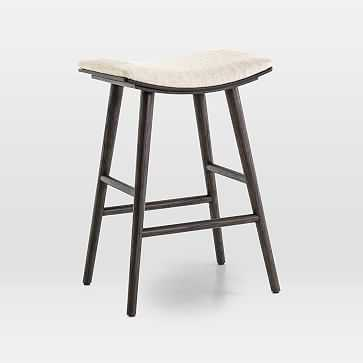 Oak Wood + Upholstered Saddle Counter Stool, Light Carbon/Essence Natural - West Elm