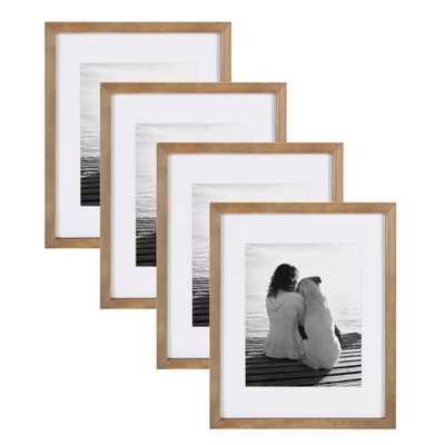 Gallery 11 in. x 14 in. matted to 8 in. x 10 in. Rustic Brown Wood Picture Frame (Set of 4) - Home Depot