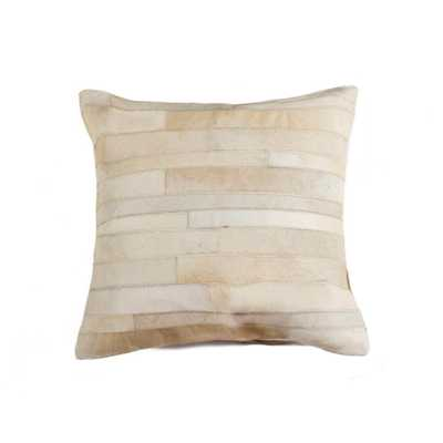 Torino Madrid Cowhide 18 in. x 18 in. Natural Pillow, White - Home Depot