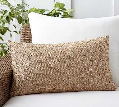 "Honeycomb Faux Fiber Indoor/Outdoor Pillow, 16 x 26"", Natural - Pottery Barn"