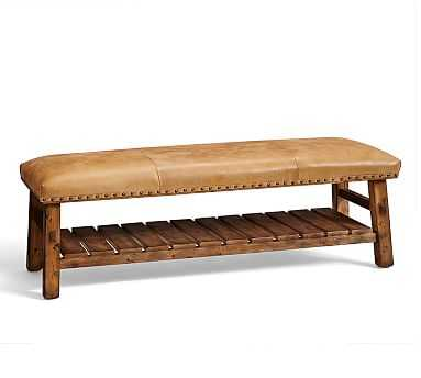 Caden Equestrian Upholstered Bench, Leather - Pottery Barn