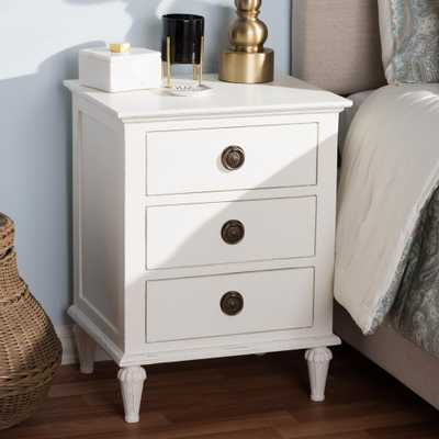 Venezia 3-Drawer White Nightstand - Home Depot