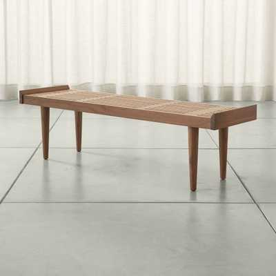 Tate Walnut Slatted Bench - Crate and Barrel