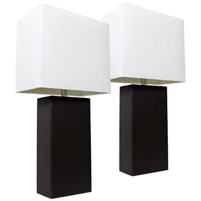 Albers Black Leather Accent Table Lamp Set of 2 - Style # 35V90 - Lamps Plus