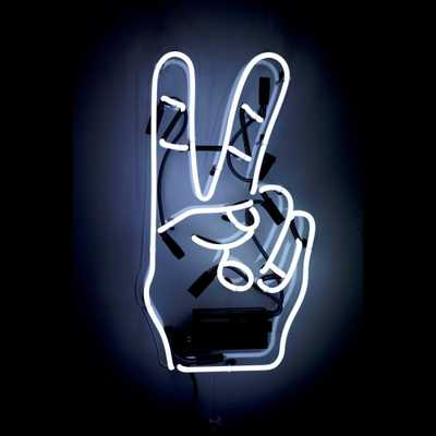 Oliver Gal 'Peace' Plug-in Neon Lighted Sign, White - Home Depot