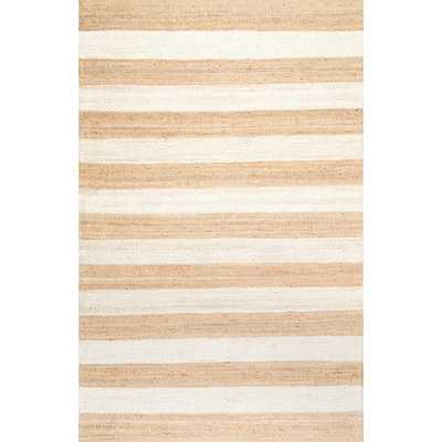 Alisia Stripes Jute Bleached 8 ft. x 10 ft. Area Rug - Home Depot