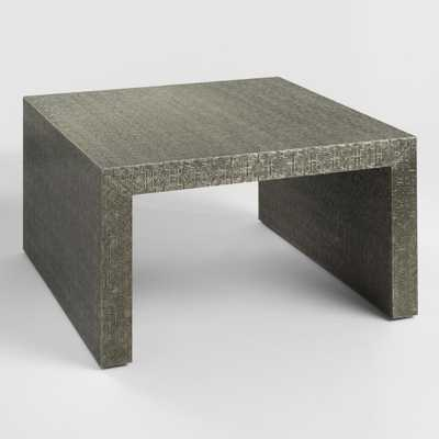 Square Embossed Metal Sheena Coffee Table: Silver - Wood by World Market - World Market/Cost Plus