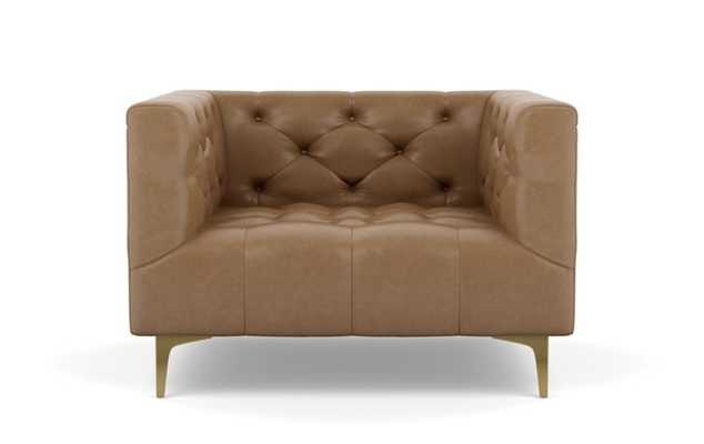 Ms. Chesterfield Leather Chairs with Palomino and Brass Plated legs - Interior Define